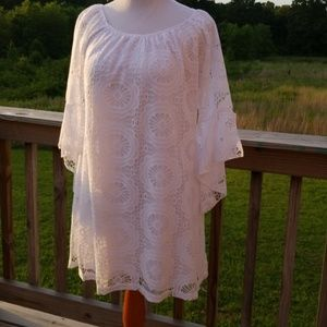 Dresses & Skirts - White lace overlay dress size small nwot